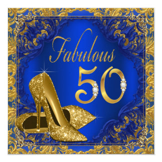 Royal Blue Gold High Heel Fabulous 50th Birthday 13 Cm X 13 Cm Square Invitation Card
