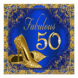 Royal Blue Gold High Heel Fabulous 50th Birthday Invitation