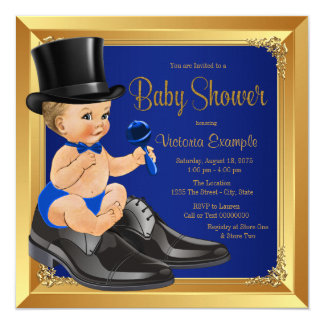 Royal Blue Gold Little Man Baby Shower 13 Cm X 13 Cm Square Invitation Card