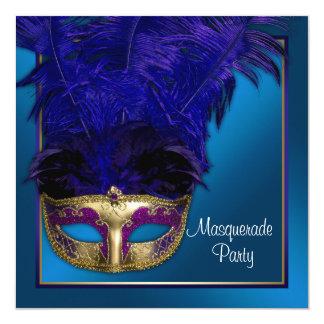 Royal Blue Gold Masquerade Party Invitations