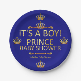 Royal Blue Gold Prince Baby Shower Its A Boy 7 Inch Paper Plate
