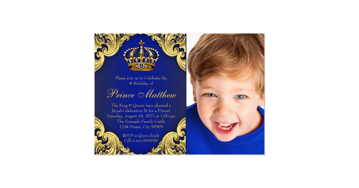Royal Blue Gold Prince Birthday Party Invitations | Zazzle.co.uk