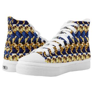 Royal Blue Gold Printed Shoes
