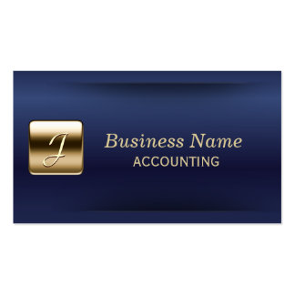 Royal Blue Gold Stamp Accounting Business Card