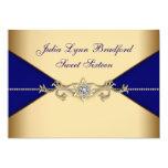 Royal Blue Gold Sweet Sixteen 5x7 Paper Invitation Card
