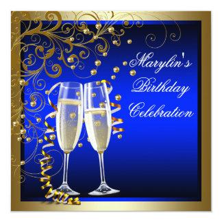 Royal Blue Gold Womans Blue Gold Birthday 13 Cm X 13 Cm Square Invitation Card