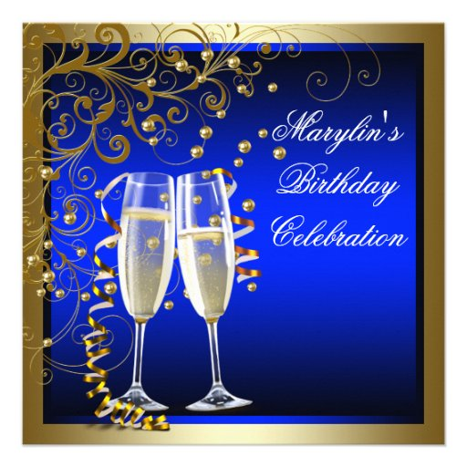 Royal Blue Gold Womans Blue Gold Birthday Personalized Invites