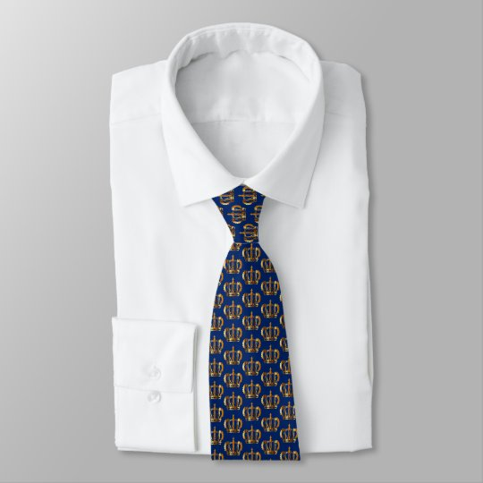 Royal Blue Golden Crowns Pattern Customisable Tie