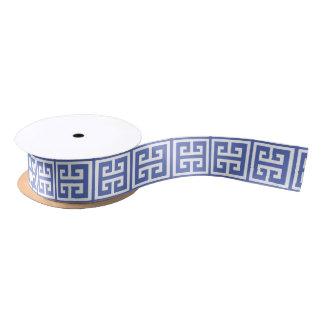 Royal Blue Greek Key Pattern Satin Ribbon