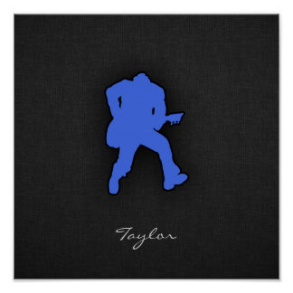Royal Blue Guitar Player Poster