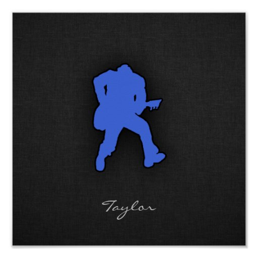 Royal Blue Guitar Player Posters