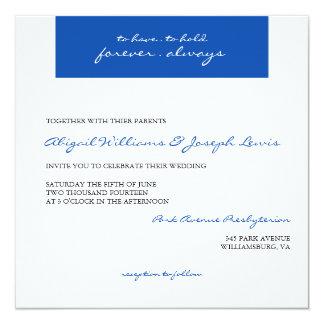 Royal Blue Handwritten Style Wedding Invitation