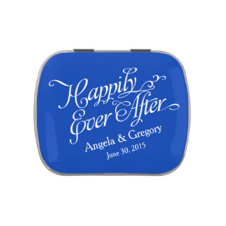 Royal Blue Happily Ever After Wedding Candy Tin