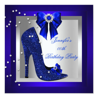 Royal Blue High Heel Shoe Silver Birthday Party Card