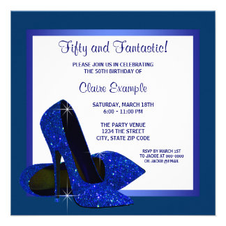 Royal Blue High Heels Womans Birthday Party Announcement