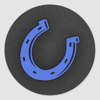 Royal Blue Horseshoe Round Sticker