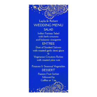 Royal Blue Indian Wedding Menu Card