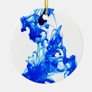 Royal Blue Ink Drop Macro Photography Christmas Tree Ornament