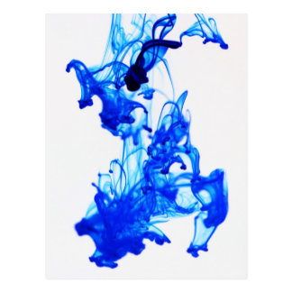 Royal Blue Ink Drop Macro Photography Postcard