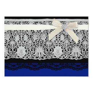 Royal Blue Ivory Elegant Lace Wedding Invitation