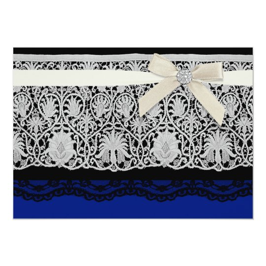 Royal Blue Ivory Elegant Lace Wedding Invitation