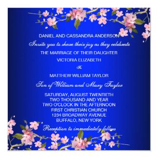 Royal Blue Japanese Cherry Blossoms Wedding 13 Cm X 13 Cm Square Invitation Card