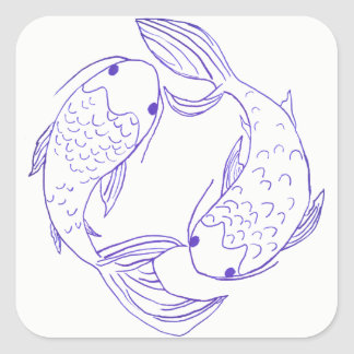 Royal Blue Koi Square Sticker
