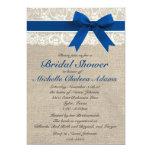 Royal Blue Lace Burlap Bridal Shower Invitation 13 Cm X 18 Cm Invitation Card