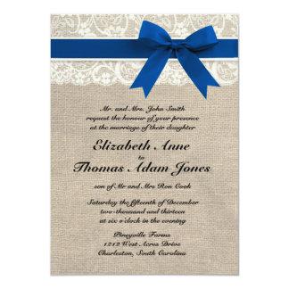 Royal Blue Lace & Burlap Wedding Invite 2