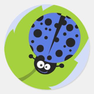 Royal Blue Ladybug Round Sticker