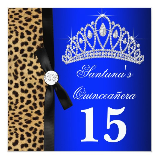 Royal Blue Leopard Quinceanera Invitations