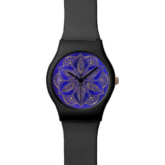 Royal Blue Mandala Lotus Flower Wrist Watch