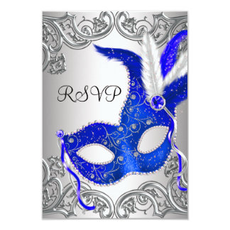Royal Blue Mask Masquerade Party RSVP Custom Invites