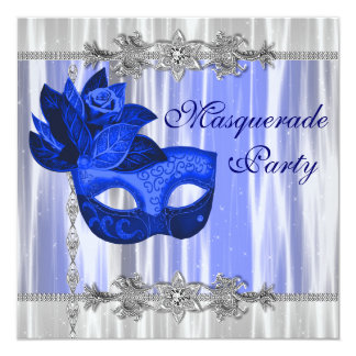Royal Blue Masquerade Party 13 Cm X 13 Cm Square Invitation Card