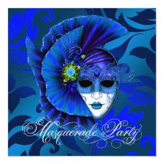 Royal Blue Masquerade Party Invitations