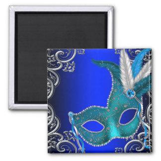 Royal Blue Masquerade Party Square Magnet