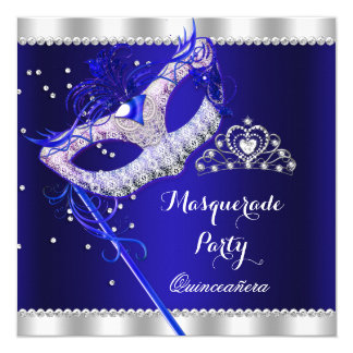 Royal Blue Masquerade Quinceanera Party Mask Gems 5.25x5.25 Square Paper Invitation Card
