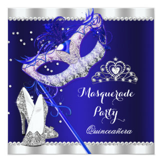 Royal Blue Masquerade Quinceanera Party Mask Heels 5.25x5.25 Square Paper Invitation Card
