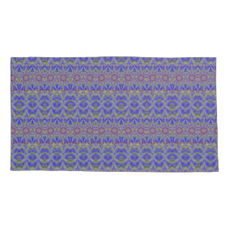 Royal blue medallions with purple daisies pillowcase
