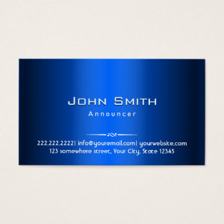 Royal Blue Metal Announcer Business Card