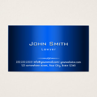 Royal Blue Metal Lawyer Business Card