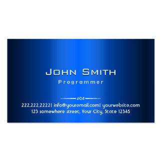 Royal Blue Metal Programmer Business Card