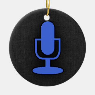 Royal Blue Microphone Christmas Ornament