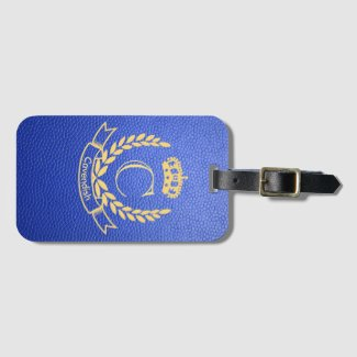 Royal Blue Mock Leather with Monogram Crest