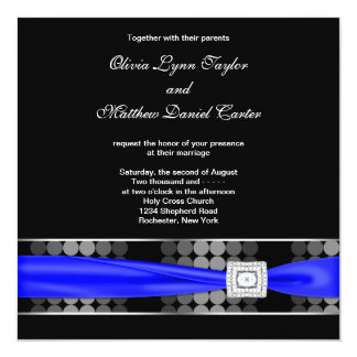 Royal Blue Modern Dot Black White Classy 13 Cm X 13 Cm Square Invitation Card
