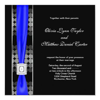 Royal Blue Modern Dot Black White Wedding 13 Cm X 13 Cm Square Invitation Card