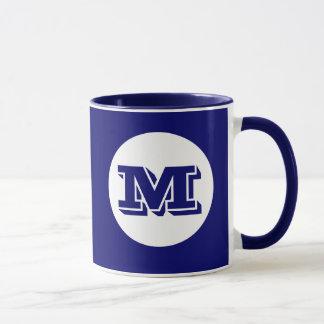 Royal Blue Monogram Custom Printed Coffee Mug