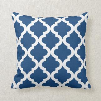 Royal Blue Moroccan Quatrefoil Print Cushion