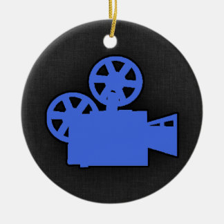 Royal Blue Movie Camera Christmas Ornament