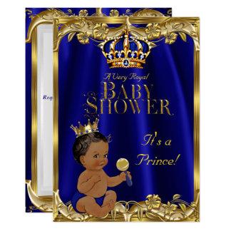 Royal Blue Navy Gold Prince Baby Shower Ethnic 13 Cm X 18 Cm Invitation Card